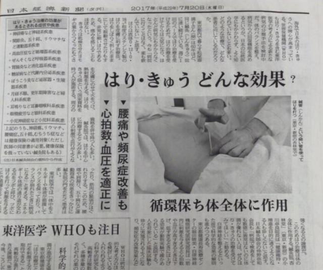 日本経済新聞夕刊に鍼灸効果が掲載